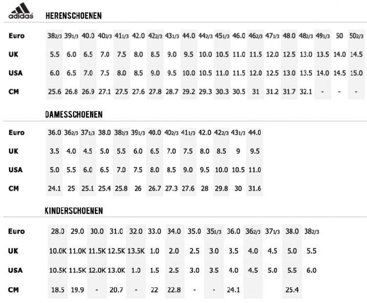Maattabellen - Service - Jaap's Jeans & Sportswear